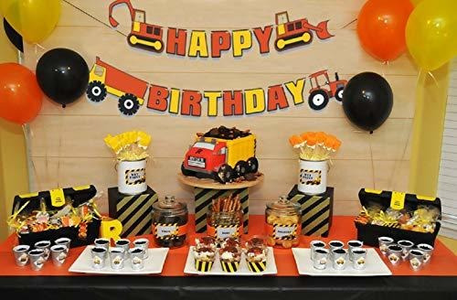 Swell 16 Pcs Construction Truck Birthday Cake Decoration With Cons Birthday Cards Printable Benkemecafe Filternl