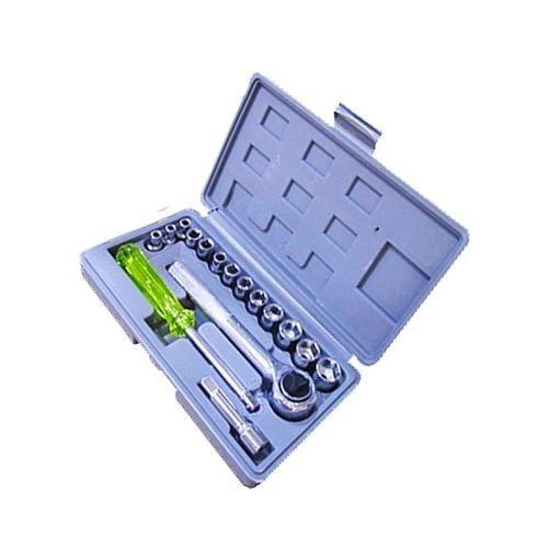 16 peças jogo soquetes catraca chave reversível ferramentas
