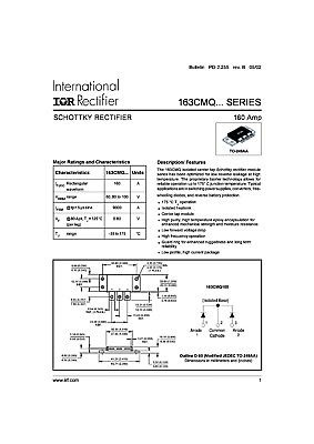 160CMQ100 Schottky Diodes 100 V Schottky Rectifier 160 Amp