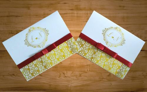 160 unid convite de casamento + fita de cetim com laço