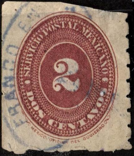 1612 clásico numeral l azules scott #202 4° e 2c usado 1887