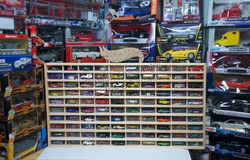 1:64 coleccionador repisa madera basico p100 pzs hot wheels