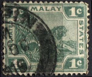 1663 malay africa scott#38 león verde 1c usado 1906-22