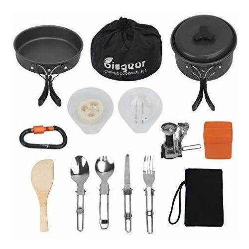 16pcs cookware para camping stove mosqueton juego de spork p