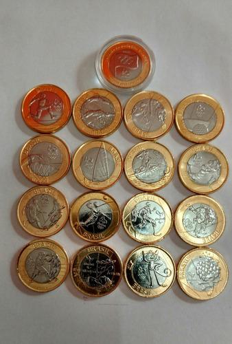 17 moedas olimpiadas coleção rio 2016  bandeira no blister'