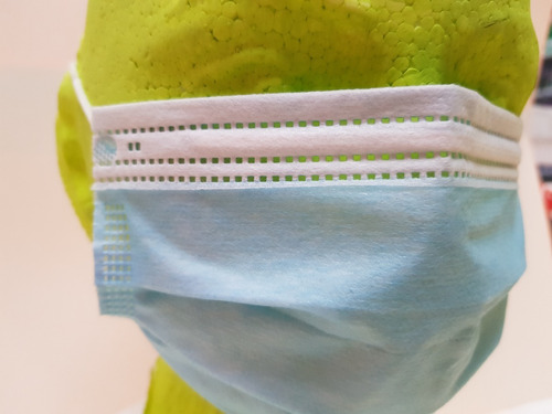 17 piezas cubrebocas azul plisado 3 capas termosellado