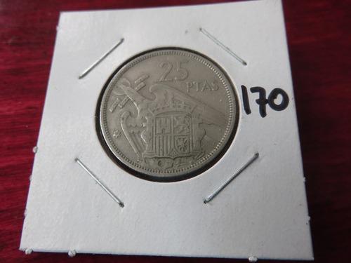#170  moneda del mundo 25 pesetas 1957 españa