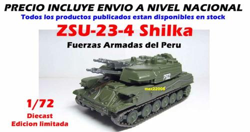 1/72 tanque shilka armado die cast sukhoi mig barco paladin