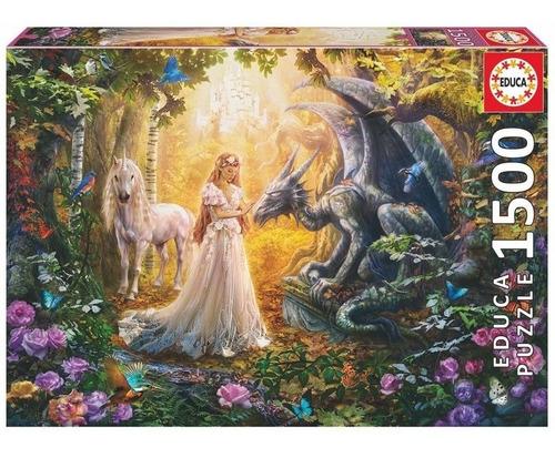 17696 dragón princesa unicornio rompecabezas educa 1500 pzas