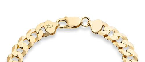 18 k de oro sobre plata esterlina. pulsera de cadena de...