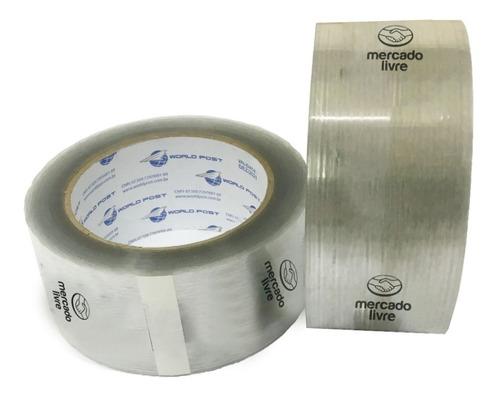 18 rolos de fita adesiva transp. mercado livre 48 mmx100 mt