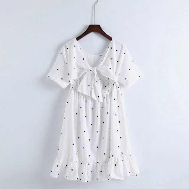 18. Vestido Corto Blanco Puntos Zara Talla M Usado
