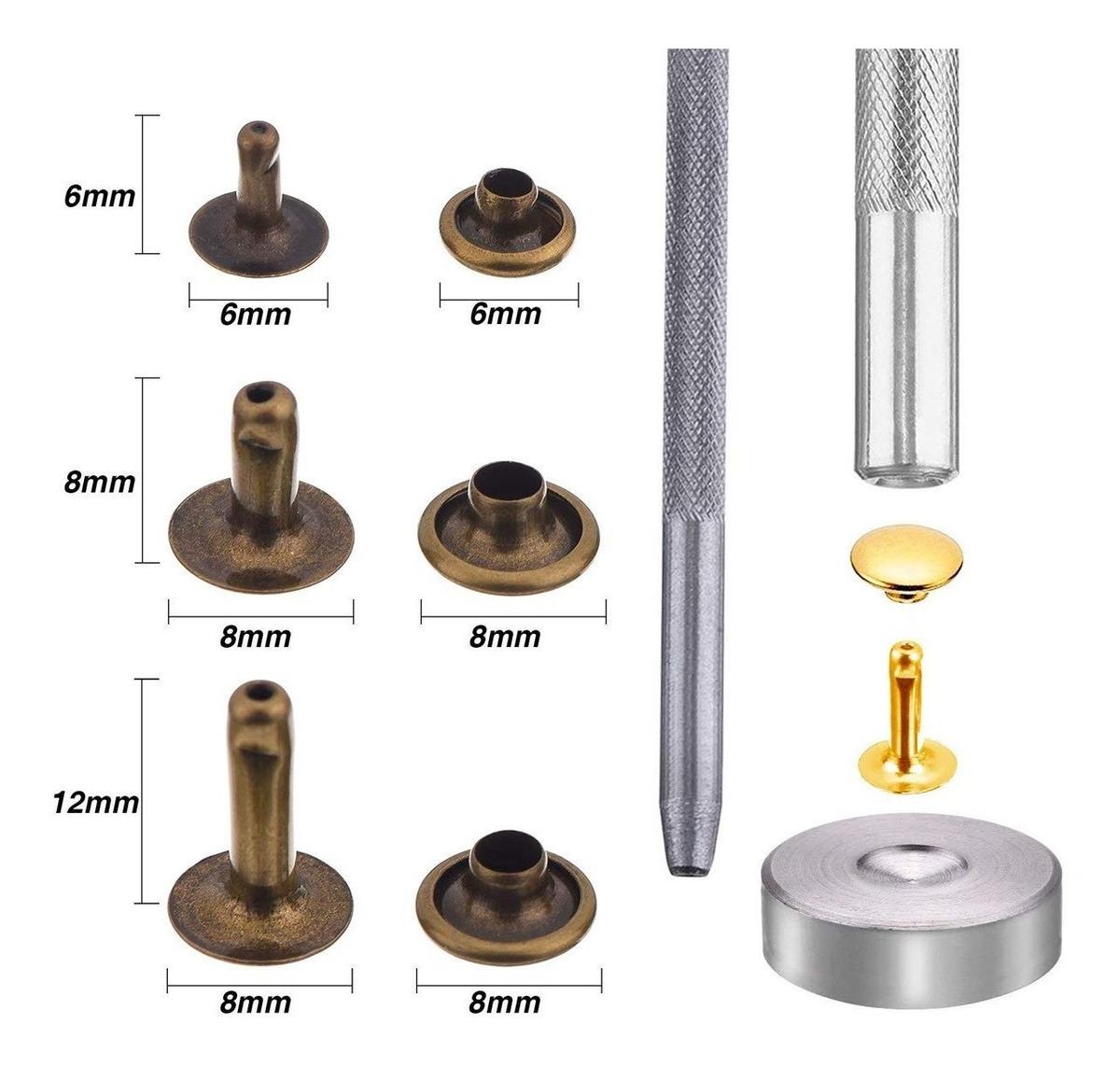 Kit de herramientas de fijaci/ón de remaches de cuero 7 en 1 Set de remachado de acero con base Herramienta de artesan/ía Kit de broche de perforaci/ón para instalar el bot/ón de remache y el orificio de