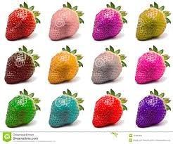 180 sementes de morangos coloridos 9 cores