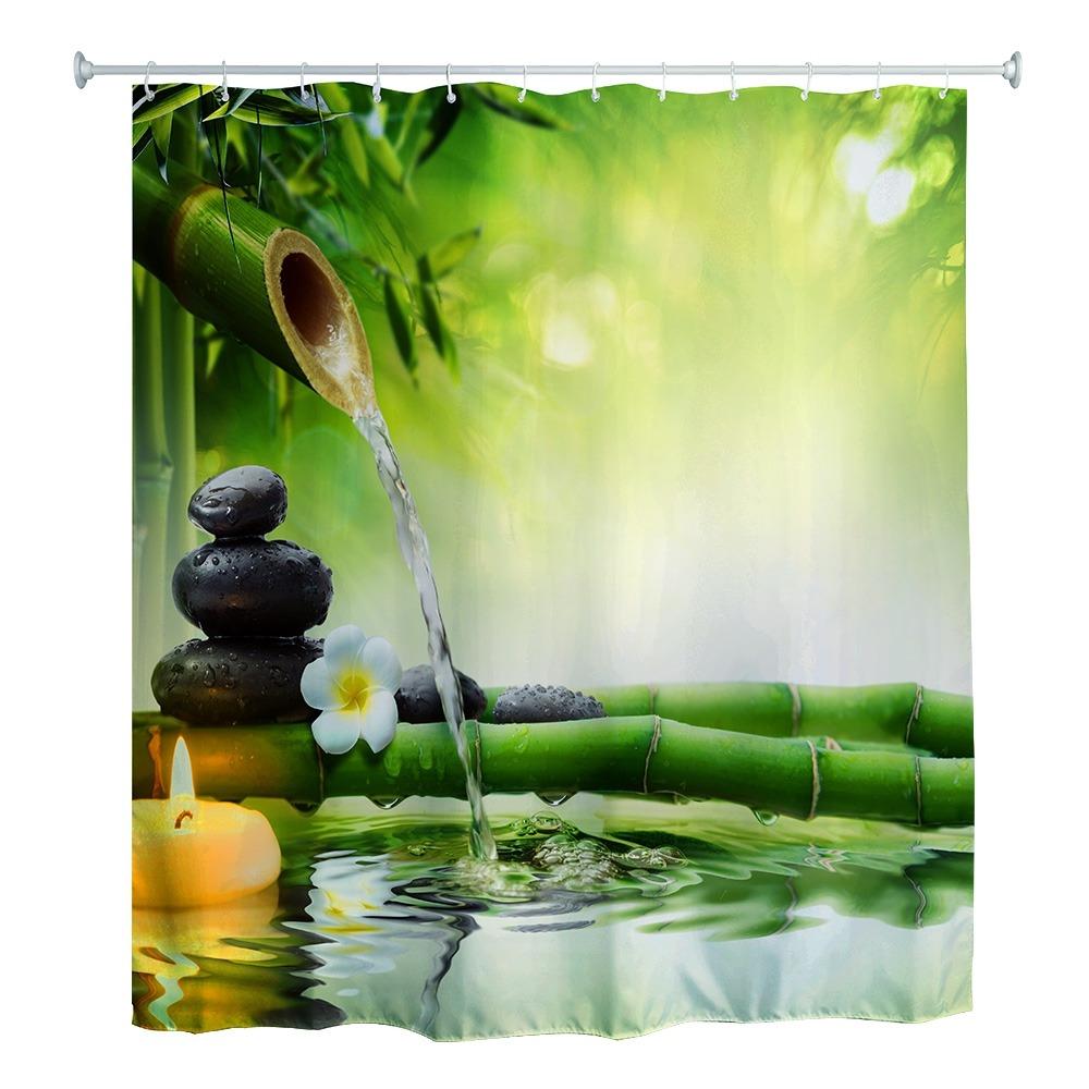 180 x 180y20 zen agua de bamb 3d impreso de la cortina de en mercado libre. Black Bedroom Furniture Sets. Home Design Ideas