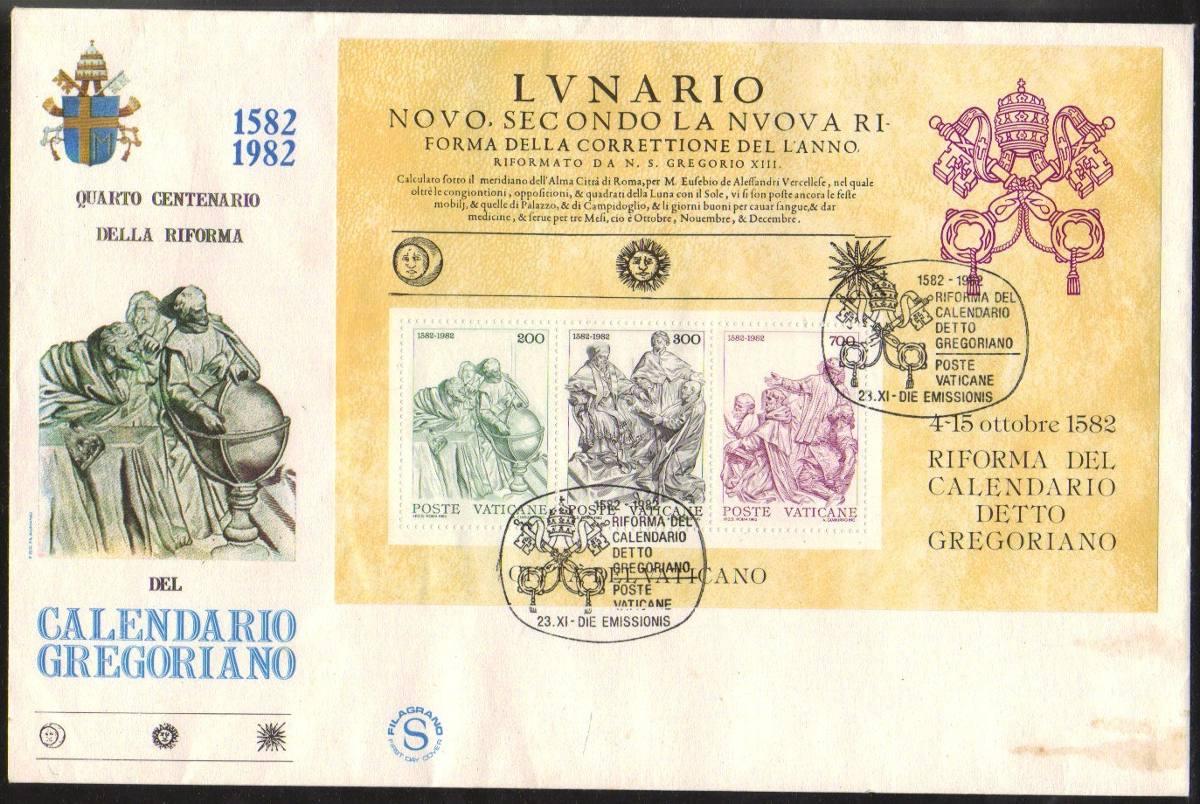 Calendario Gregoriano.18186 Vaticano Envelope Fdc Calendario Gregoriano 1982