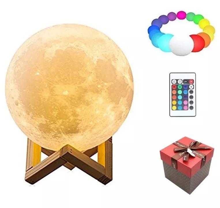 Lámpara Remoto Recargable Luna Usb 16 18cm 3d Control Colore 7Yb6gyf
