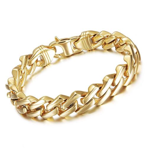 18k chapado en oro 12mm / 15mm pulsera de cadena de esl...