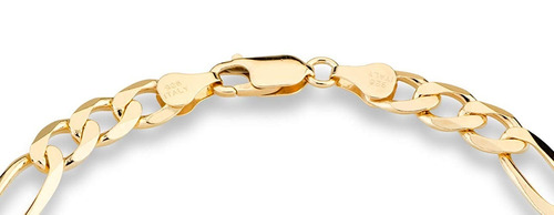 18k oro sobre plata esterlina italiano 7mm pulsera de c...