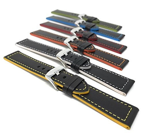 8f337a25d 18mm To 24mm, Leather Watch Strap Band, Racer, Black With Re ...