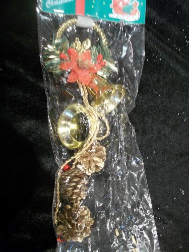 19 adornos navidad campanas doradas y piñas de 30 cm