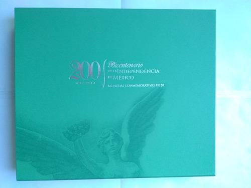 19 monedas 5 pesos 200 años independencia '08-10 mate brillo