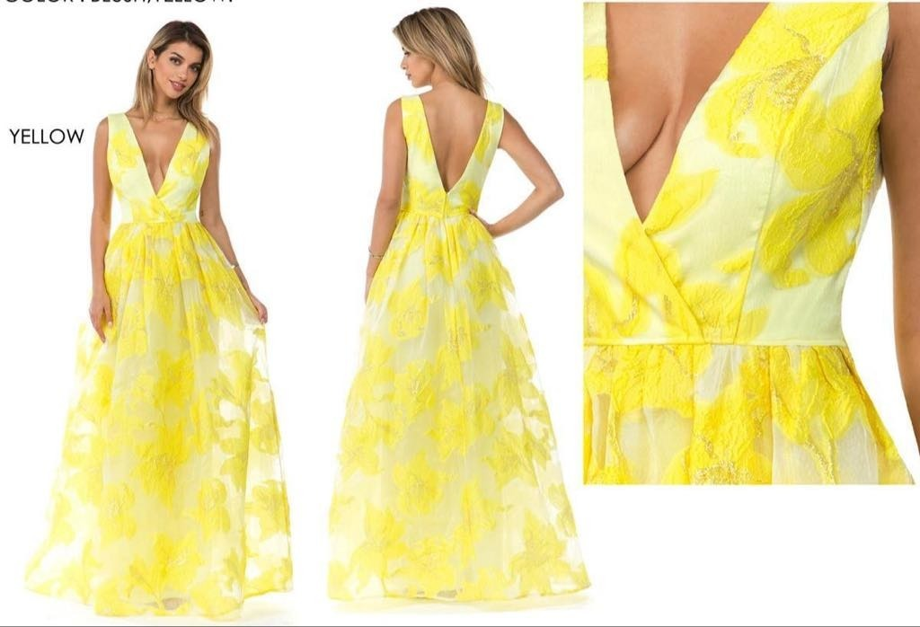 1902 30 Vestido Color Amarillo Largo Con Flores