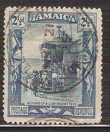 1919 jamaica guerra mundial soldados barco sello usado