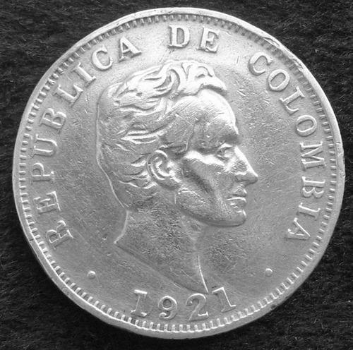 1921 m plata colombia moneda  50 centavos nice !!   #a45tyu8