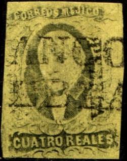 1928 clasico hidalgo dto puebla 4 reales usado 1861