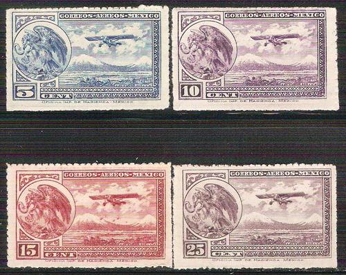 1930 32 escudo avión  4 sellos aéreos mnh ruleteados