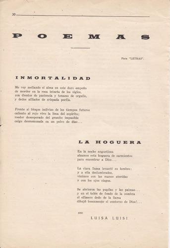 1931 uruguay 2 poesias de luisa luisi en revista letras