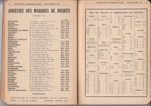 1932 catalogo discos pasta repertoire phonographique escaso