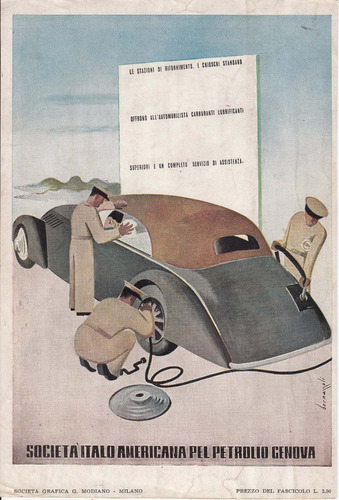 1938 publicidad societa italo americana pel petrolio genova
