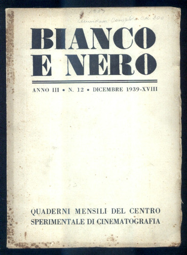 1939 cinema - revista bianco e nero - ano 3 n.12 fotografia