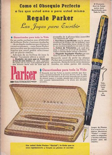 1942 publicidad pluma y lapicera parker vacumatic vintage