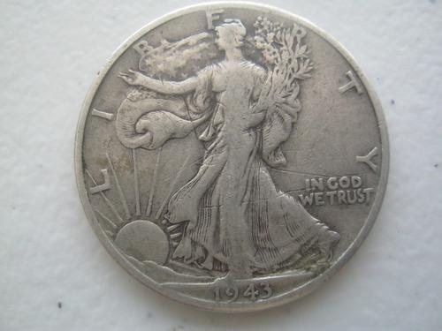 1943 moneda walking liberty acuñada en denver