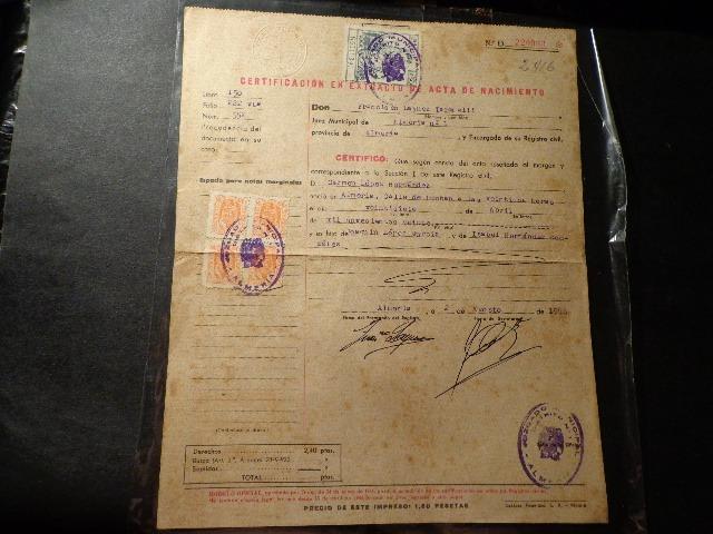 1946- Almeria- Acta De Nacimiento-firmas-sellos-fiscales-etc ...