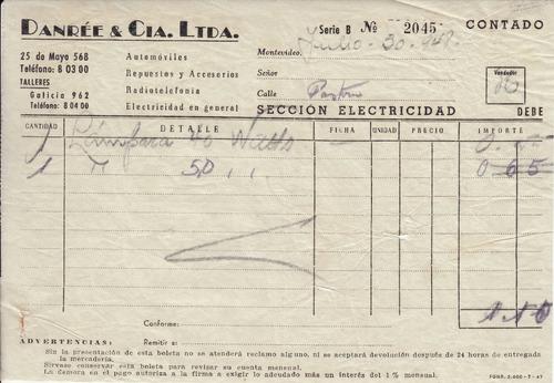 1948 boleta danree & cia ltda ciudad vieja comercios vintage