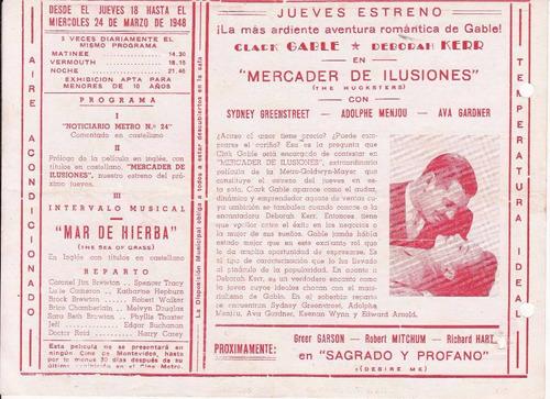 1948 programa cine clark gable the hucksters ava gardner