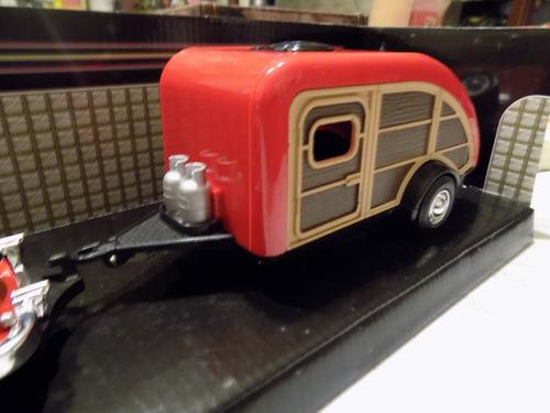 1949 ford woody carro rojo 1/24 con tear gota trailer motorm