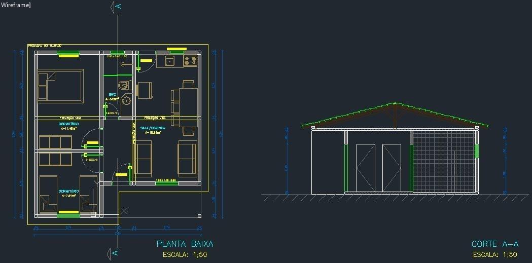 195000 projetos residenciais planta baixa autocad 2d e 3d for Casa cad