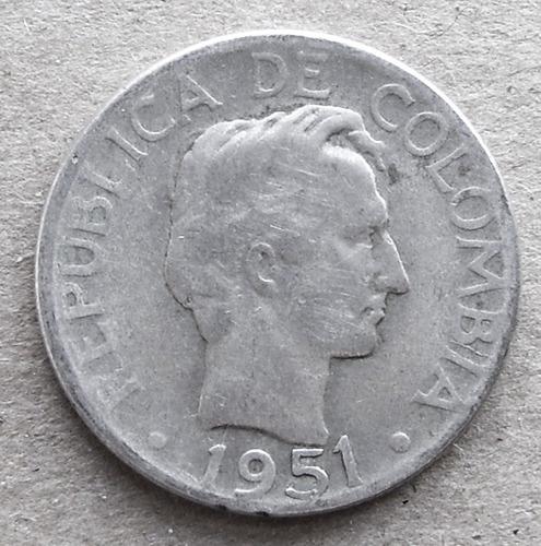 1951 b plata colombia moneda 20 centavos  ley .500