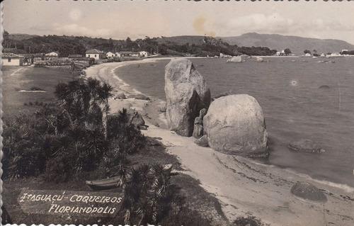 1953 fotografia postal playa itaguacu florianopolis brasil