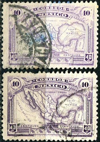 1954 mapa scott #647 diferentes tonos (2) 40c usados 1923