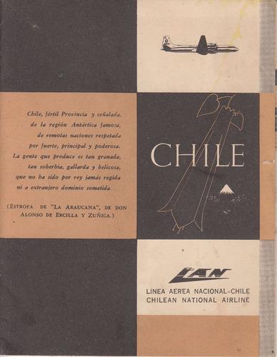 1956 linea aerea lan chile mapa ilustrado aviacion vintage