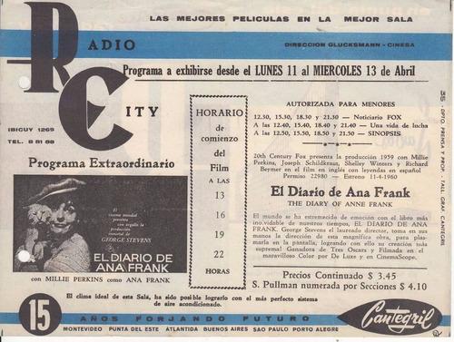 1960 programa sala cine radio city el diario de ana frank