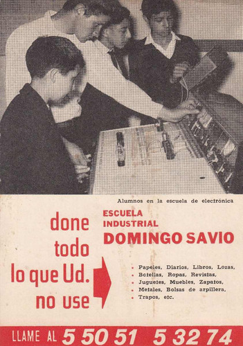 1966 calendario escuela industrial domingo savio montevideo