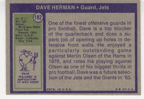 1972 topps dave herman new york jets g