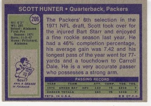 1972 topps scott hunter rookie packers qb